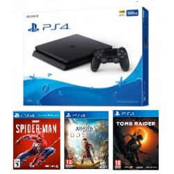 Consola PS4 Slim 500GB Con Juegos Spiderman + Assassin Odyssey + Tomb Raider