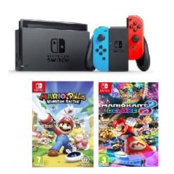 Consola Nintendo Switch Azul Y Roja con Juegos Mario Rabbids y Mario Kart