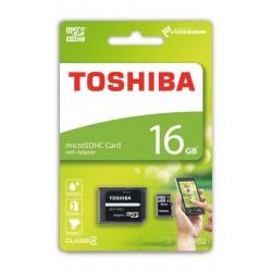 Tarjeta de Memoria MicroSD TOSHIBA 16Gb C4 Con adaptador (THN-M102K0160M2)